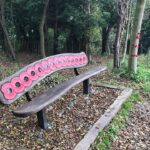 Carved wooden commemorative bench